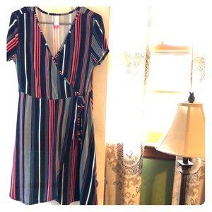 Short Sleeve Dress, Faux Wrap